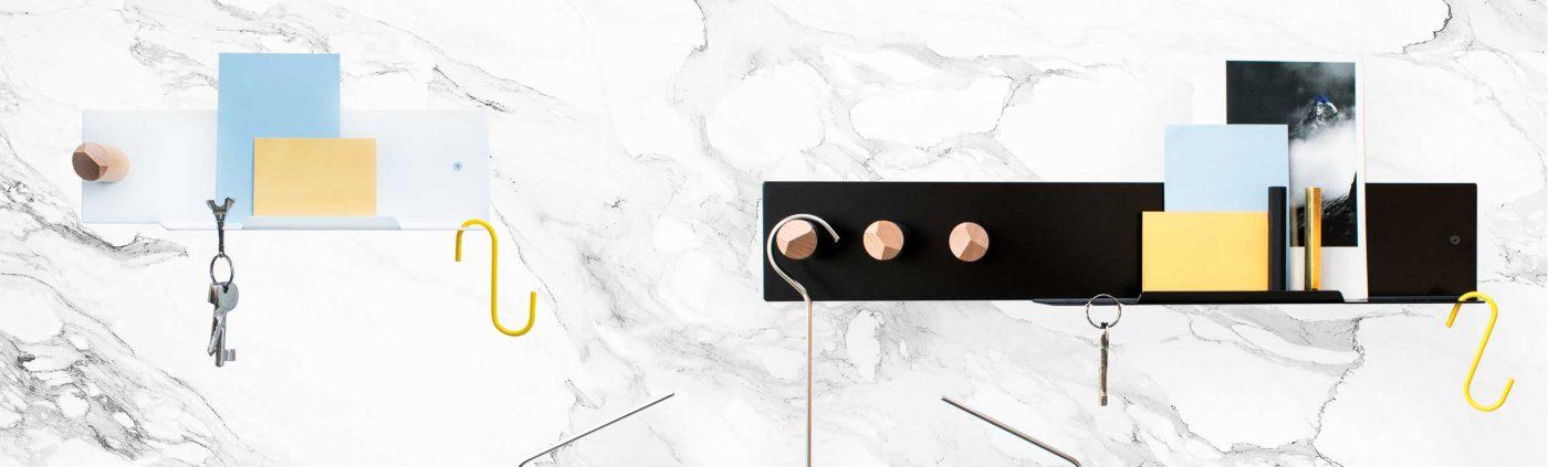 Pocket organiser shelf mood image with marble plate