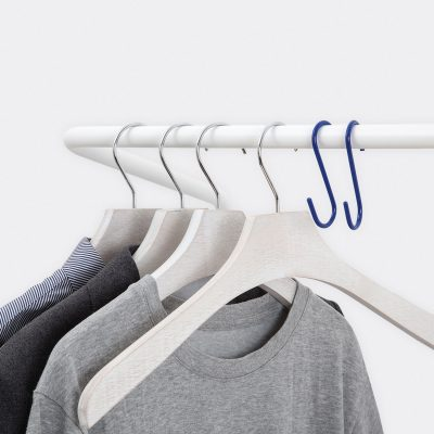 detail of hanger on the metal clothes rack
