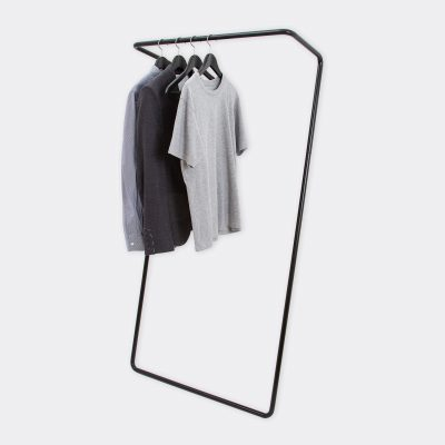 clean product shot of the clothes rail in black