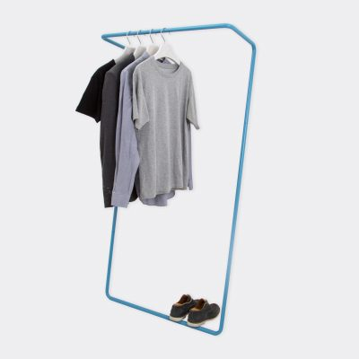 cut out image of the untitled clothes rail in blue wall leaning