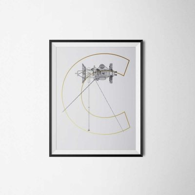 POster and illustration of the space sonde cassini