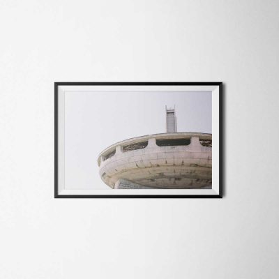 view of the Buzludzha building in bulgaria