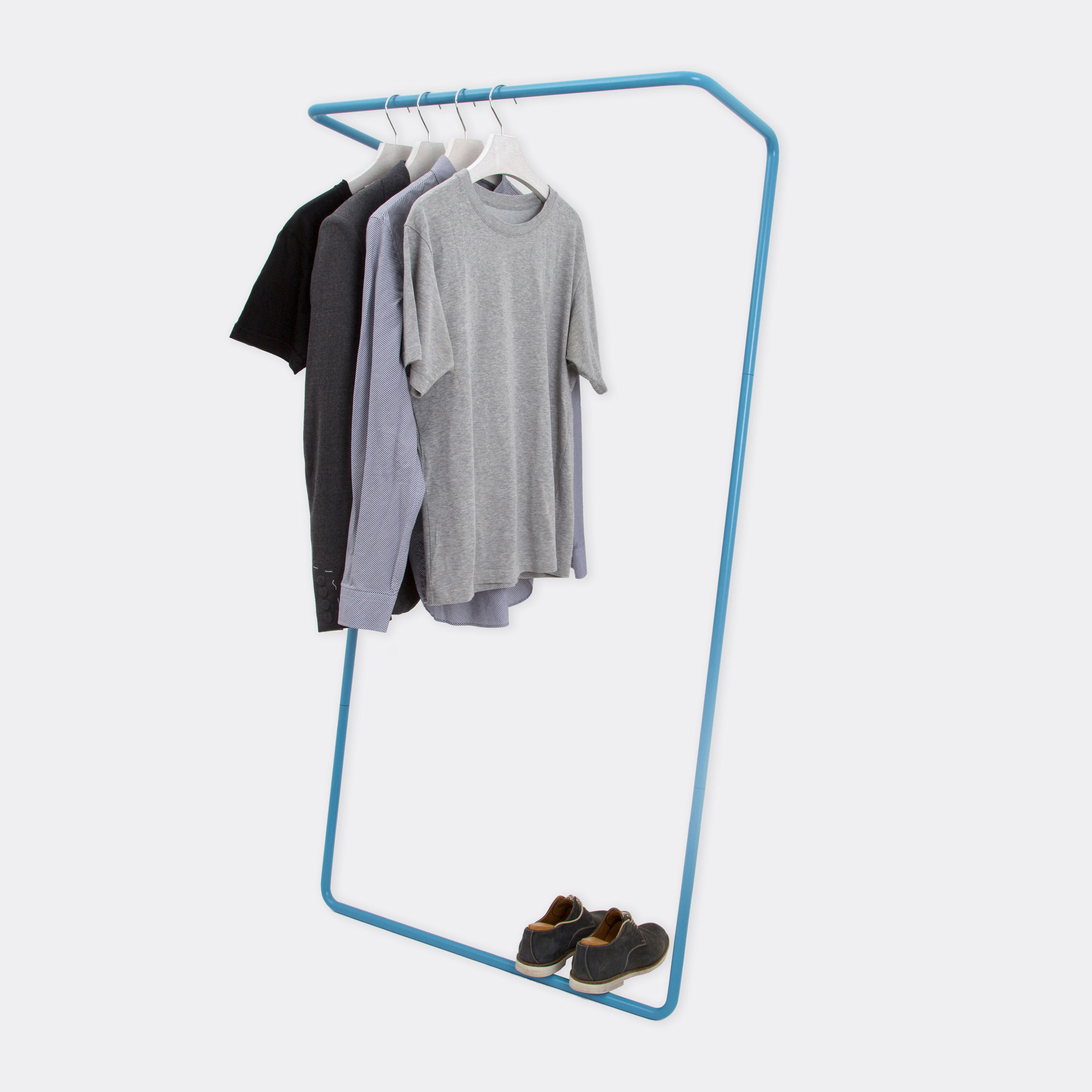 clean product shot of the clothes rail in blue
